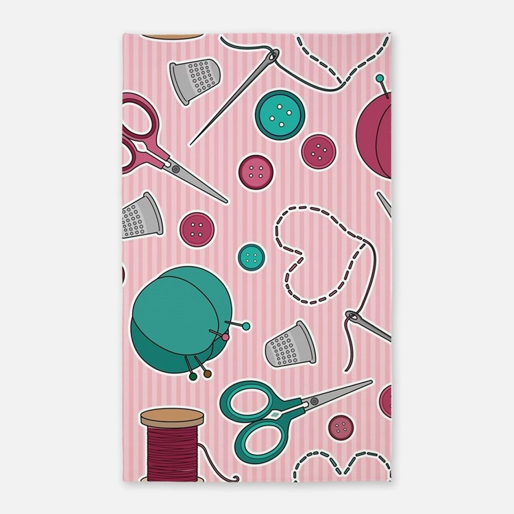 Cute Sewing Themed Pattern Pink Area Rug