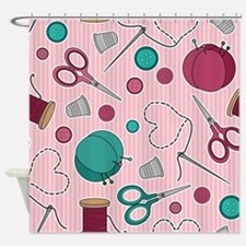 Cute Sewing Themed Pattern Pink Shower Curtain