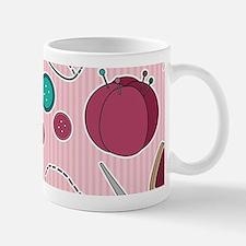 Cute Sewing Themed Pattern Pink Mugs