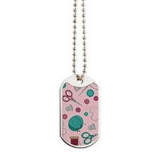 Cute Sewing Themed Pattern Pink Dog Tags