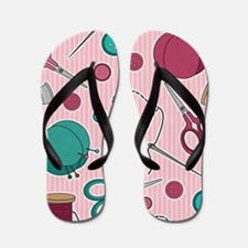 Cute Sewing Themed Pattern Pink Flip Flops