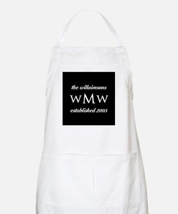 Black and White Custom Monogram Apron