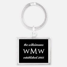 Black and White Custom Monogram Landscape Keychain