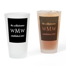 Black and White Custom Monogram Drinking Glass