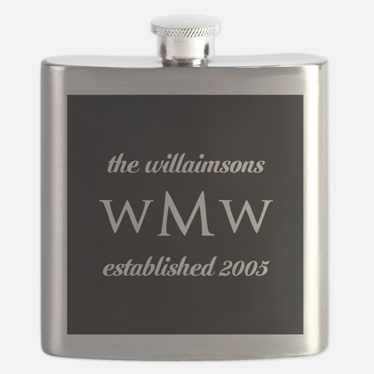 Black and White Custom Monogram Flask