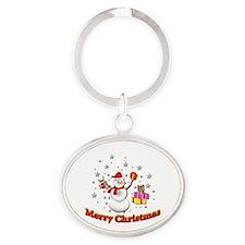 Christmas Snowman Oval Keychain