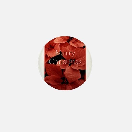 Merry Christmas with Pointsettias Mini Button