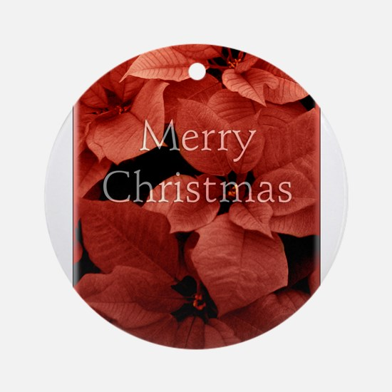 Merry Christmas with Pointsettias Round Ornament