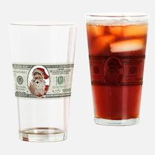 Santa 100 Dollars Drinking Glass