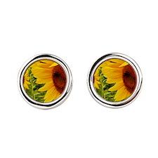 Funny Sunflowers Round Cufflinks