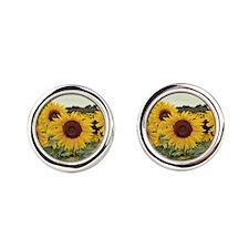 Sunflowers Round Cufflinks