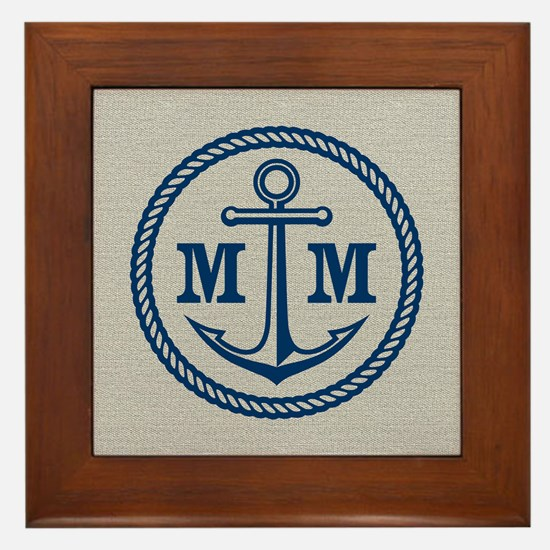 Monogrammed Anchor 2 Initials Framed Tile
