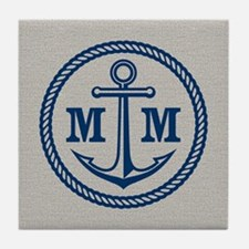 Monogrammed Anchor 2 Initials Tile Coaster