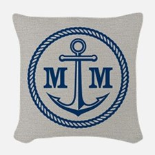 Monogrammed Anchor 2 Initials Woven Throw Pillow