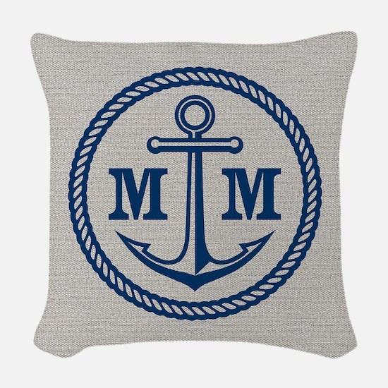 Monogrammed Anchor 2 Initials Woven Throw Pillow
