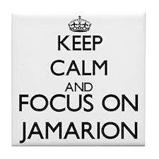 Keep Calm and Focus on Jamarion Tile Coaster