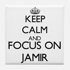 Keep Calm and Focus on Jamir Tile Coaster