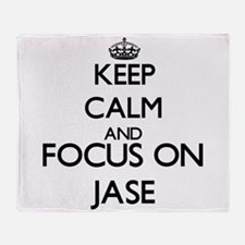 Keep Calm and Focus on Jase Throw Blanket