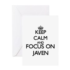 Keep Calm and Focus on Javen Greeting Cards