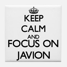 Keep Calm and Focus on Javion Tile Coaster