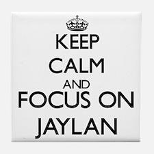 Keep Calm and Focus on Jaylan Tile Coaster