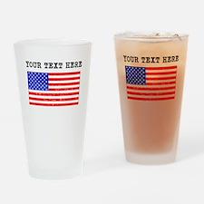 Custom Distressed United States Flag Drinking Glas