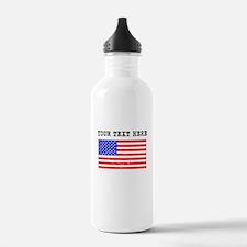 Custom Distressed United States Flag Water Bottle