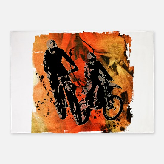 Dirt Bike Duo in Red Orange and Bla 5'x7'Area Rug