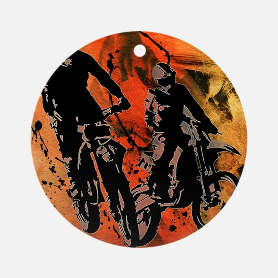 Dirt Bike Duo in Red Orange and B Ornament (Round)