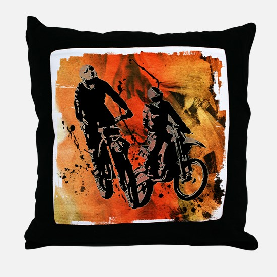 Dirt Bike Duo in Red Orange and Black Throw Pillow