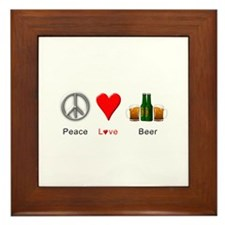 Peace Love Beer Framed Tile