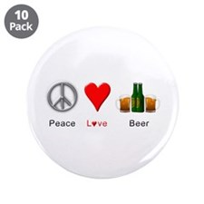 "Peace Love Beer 3.5"" Button (10 pack)"