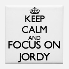 Keep Calm and Focus on Jordy Tile Coaster