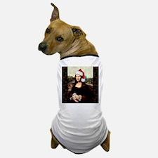 Christmas Mona Lisa Wearing a Santa Ha Dog T-Shirt