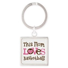 Mom Loves Basketball Square Keychain