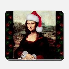 Christmas Mona Lisa Wearing a Santa Hat Mousepad