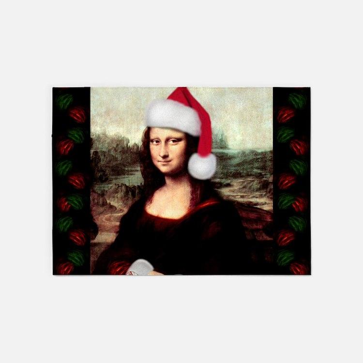 Christmas Mona Lisa Wearing a Santa 5'x7'Area Rug