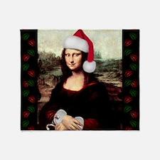 Christmas Mona Lisa Wearing a Santa Throw Blanket