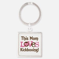 Mom Loves Kickboxing Square Keychain