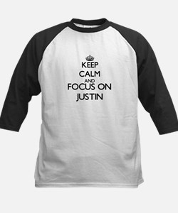 Keep Calm and Focus on Justin Baseball Jersey