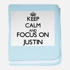 Keep Calm and Focus on Justin baby blanket