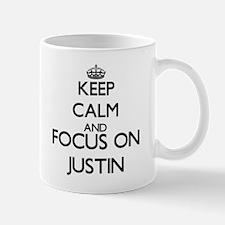 Keep Calm and Focus on Justin Mugs