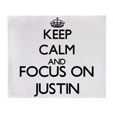 Keep Calm and Focus on Justin Throw Blanket