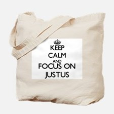 Keep Calm and Focus on Justus Tote Bag