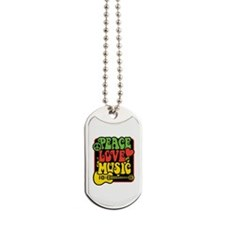 Rasta Peace Love Music Dog Tags