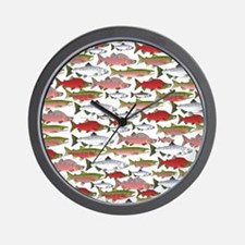 Pacific Salmon pattern Wall Clock