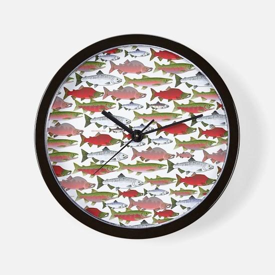 Pacific Salmon pattern Wall Clock