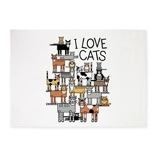I Love Cats 5'x7'Area Rug