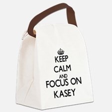 Keep Calm and Focus on Kasey Canvas Lunch Bag