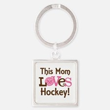 Mom Loves Hockey Square Keychain